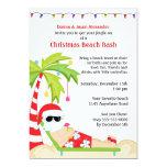 Golpe tropical de la playa del navidad invitación 12,7 x 17,8 cm