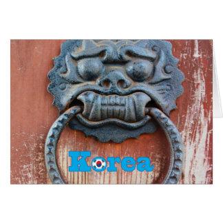 Golpeador de puerta coreano del dragón tarjeta pequeña