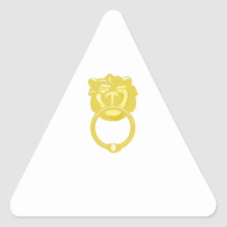 Golpeador de puerta del león pegatina triangular