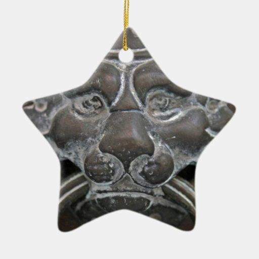 Golpeador de puerta italiano del león adorno de cerámica en forma de estrella