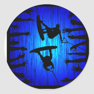 Golpeador del azul de Wakeboard Pegatina Redonda