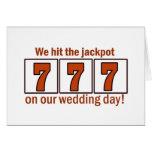 Golpeamos el bote 777 tarjetas del día de boda