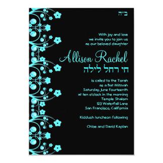"""Golpee el negro/el azul de las flores de Allison Invitación 5"""" X 7"""""""
