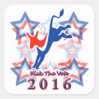 ¡Golpee el recordatorio 2016 del fiesta con el pie Pegatina Cuadrada