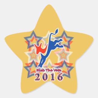 ¡Golpee el recordatorio 2016 del fiesta con el pie Pegatina En Forma De Estrella