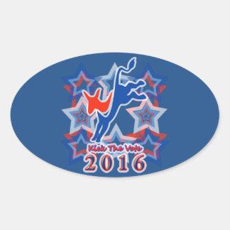 ¡Golpee el recordatorio 2016 del fiesta con el pie Pegatina Ovalada