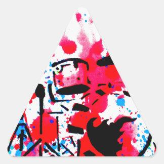 Golpee los tambores pegatina triangular