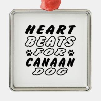 Golpes de corazón para el perro de Canaan Adorno Cuadrado Plateado