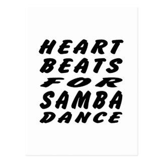 Golpes de corazón para la danza de la samba tarjetas postales