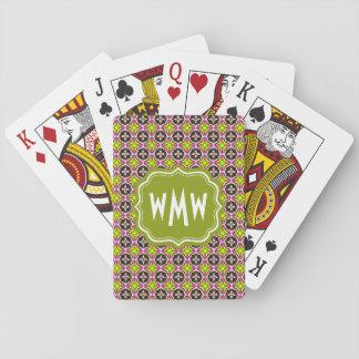 Golpeteo amarillo y verde del rosa de encargo del barajas de cartas
