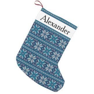 Golpeteo azul rústico del punto del blanco del bota navideña pequeña