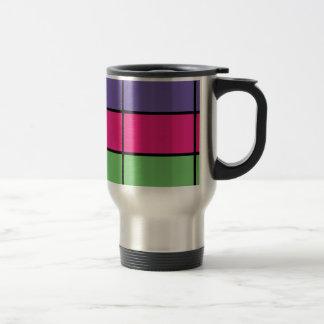Golpeteo cuadrado púrpura, rosado, y verde de taza térmica