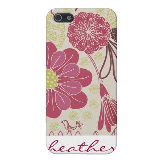 Golpeteo japonés del estampado de flores del vinta iPhone 5 fundas