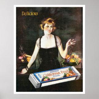 Goma de la fruta de California de Adán del vintage Poster