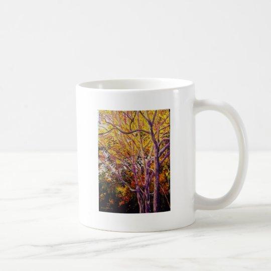 Gomas dulces en la pintura de la puesta del sol taza de café