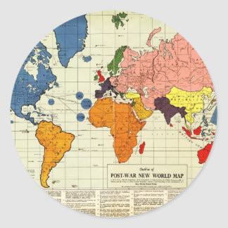 "Gomberg's infamous ""New World Order"" map (1942) Classic Round Sticker"
