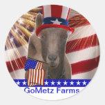 GoMetz Farms Laporte, Indiana  2013 PATRIOTIC GOAT Classic Round Sticker
