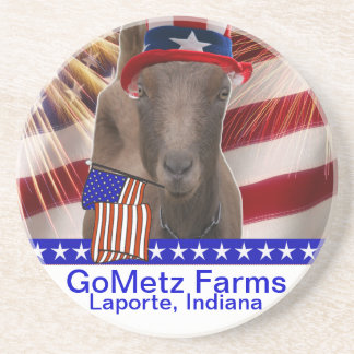 GoMetz Farms Laporte, Indiana  2013 PATRIOTIC GOAT Drink Coaster