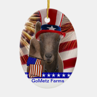 GoMetz Farms Laporte, Indiana  2013 PATRIOTIC GOAT Double-Sided Oval Ceramic Christmas Ornament