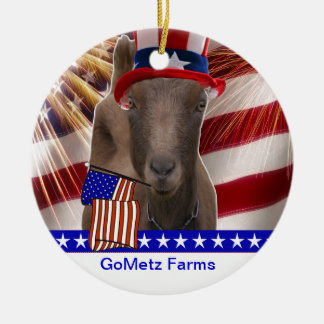 GoMetz Farms Laporte, Indiana  2013 PATRIOTIC GOAT Double-Sided Ceramic Round Christmas Ornament