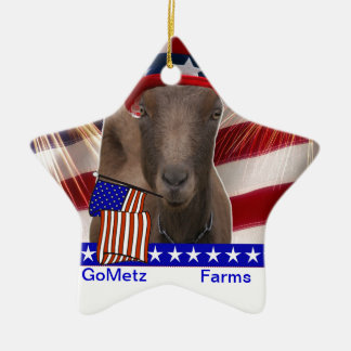 GoMetz Farms Laporte, Indiana  2013 PATRIOTIC GOAT Double-Sided Star Ceramic Christmas Ornament
