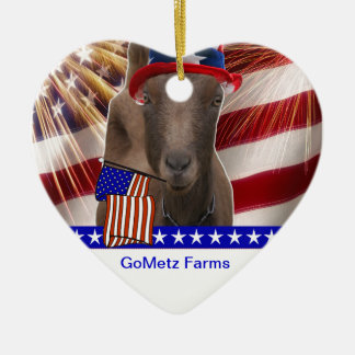 GoMetz Farms Laporte, Indiana  2013 PATRIOTIC GOAT Double-Sided Heart Ceramic Christmas Ornament