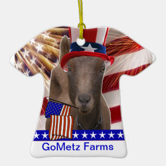 GoMetz Farms Laporte, Indiana  2013 PATRIOTIC GOAT Double-Sided T-Shirt Ceramic Christmas Ornament