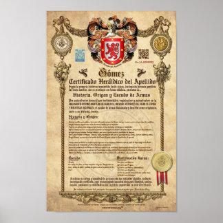 """""""GÓMEZ"""" Certificado Heráldico del Apellido Póster"""
