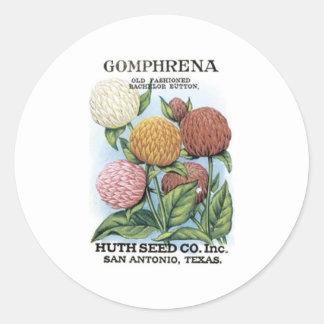 Gomphrena, Huth Seed Co Classic Round Sticker