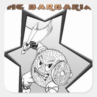 Gónada el bárbaro pegatina cuadrada