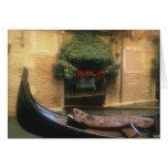 Gondola and Restaurant, Venice, Veneto, Italy Card