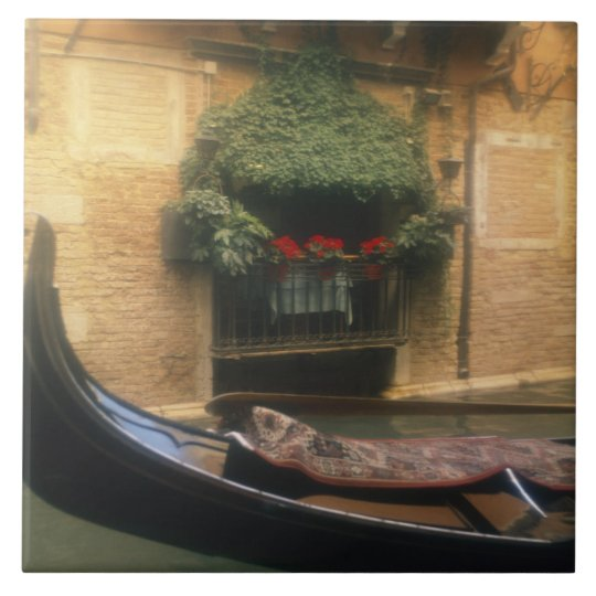 Gondola and Restaurant, Venice, Veneto, Italy Ceramic Tile