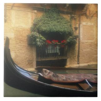 Gondola and Restaurant, Venice, Veneto, Italy Large Square Tile