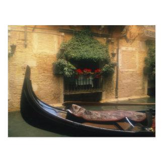 Gondola and Restaurant, Venice, Veneto, Italy Postcard