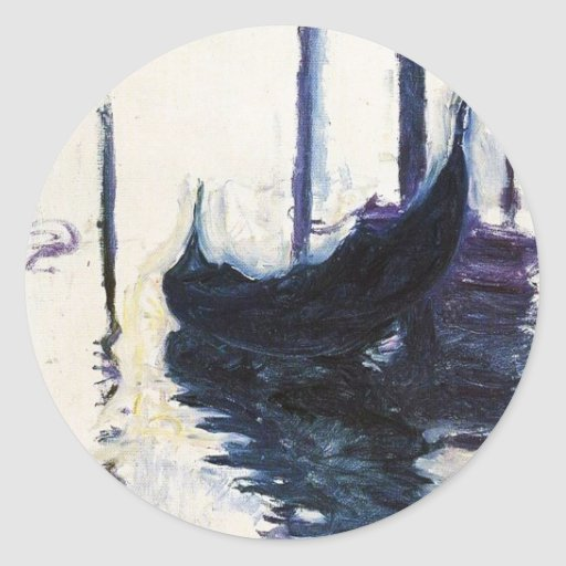 Góndola de Monet en Venecia Pegatina Redonda