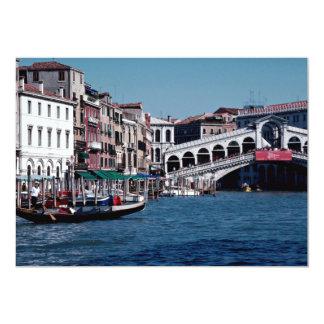 """Góndola en el Gran Canal, puente de Rialto, Invitación 5"""" X 7"""""""