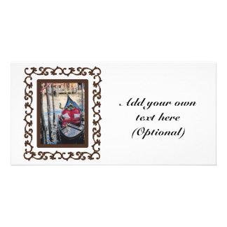 Góndola enmarcada adornada en Venezia Tarjeta Fotográfica Personalizada