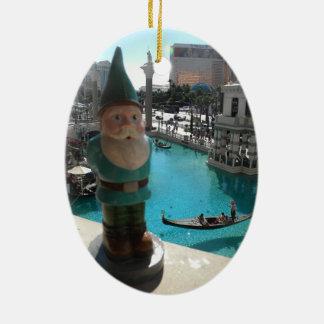 Gondola Gnome II Double-Sided Oval Ceramic Christmas Ornament