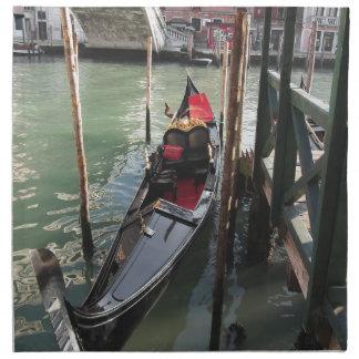 Gondola moored by quay on Venice canal, Italy Napkin