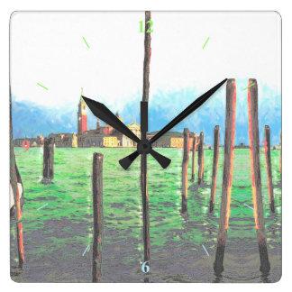 Gondola Moorings in Venice Square Wall Clock