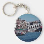 Gondola on the Grand Canal, Rialto Bridge, Venice, Basic Round Button Keychain