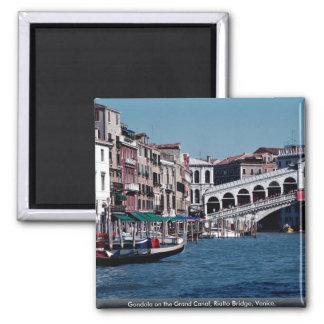 Gondola on the Grand Canal, Rialto Bridge, Venice, 2 Inch Square Magnet