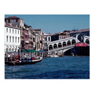 Gondola on the Grand Canal Rialto Bridge Venice Postcard
