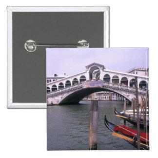 Gondolas and tourists near the Rialto Bridge Button