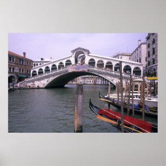 Gondolas and tourists near the Rialto Bridge Poster