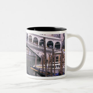 Gondolas and tourists near the Rialto Bridge Two-Tone Coffee Mug