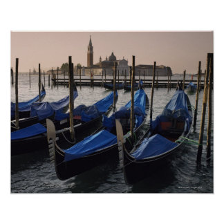Gondolas by Saint Marks Square in Italy Poster