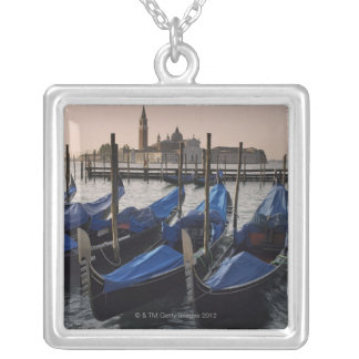 Gondolas by Saint Marks Square in Italy Silver Plated Necklace