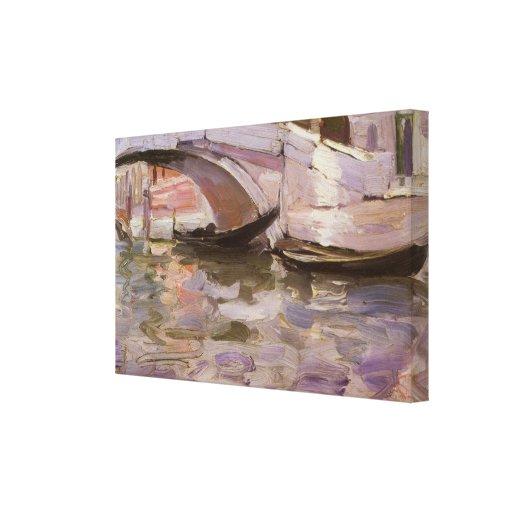 Gondolas by Sargent, Vintage Victorian Fine Art Stretched Canvas Print