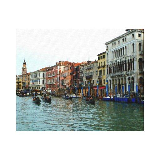 Góndolas de Venecia en la impresión de la lona del Lienzo Envuelto Para Galerias